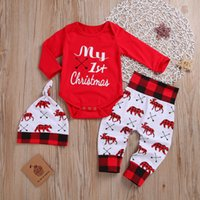 Yeni Bebek Erkek Kız Noel İlk Giysi Bahar Sonbahar Rahat Uzun Kollu Romper Pantolon Şapka Kıyafet Seti Yenidoğan Bebek