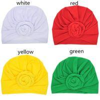 birden çok renk Moda Kız bebekler el yapımı çiçek şapka çocuklar sevimli düz renk sarık şapka 8colors 20 * 18cm W95636