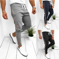 Men' s Casual Pants Ankle- Length Elastic Strap Striped J...