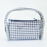 5styles plaid PVC transparent cosmetic bag girl Storage Bag ...