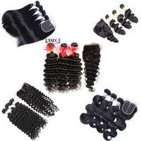 Mongolian Virgin Hair Weave 3 buntar med spetsar som är obearbetade remy mänskliga hår kroppsvåg rakt lös djupt kinkigt lockigt hår