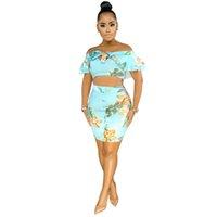 Été Femmes Deux pièces Ensembles imprimé floral manches papillon Crop Top Minijupes Costume Survêtements Robe