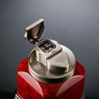Ehrlicher Desktop-Metall-Zigarre-Feuerzeug-Gas-Feuerzeug vier gerade Jet-Fackel-Feuerzeug (4 Kopf) winddichte Schweißleicher mit Geschenkbox