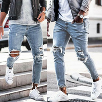 Fashion Streetwear Men' s Jeans Vintage Skinny Destroyed...