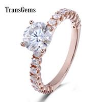 Transgems 18 К 750 Розовое Золото Муассанит 6.5 мм 1ct F Цвет Обручальное Кольцо Для Женщин С Ударениями На Полосе Y19032201