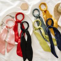 Massivfarbe Haarsprudeleien Bogen Frauen Accessoires Band Haarbänder Manuelle Krawatten Scrunchie Pferdeschwanzhalter Gummi Seil Vintage Langer Bogen