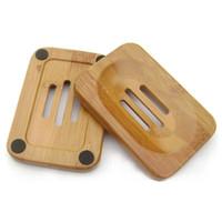 Natürliche Bambusholzseife Gestell aus Holz Soap-Kasten-Halter-Behälter Teller-Platten-Behälter für das Bad Dusche Badezimmer LX8656
