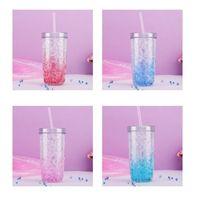 17 oz Copa de paja de verano creativo del hielo del vaso con tapa y botellas Copa de paja fría Preservación doble plástico de agua Quickily Entrega