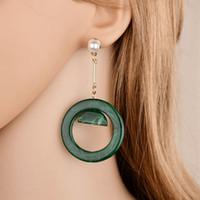 Neue Retro- übertriebene Temperament Acryl runde Ohrringe Metall Lange Geometric Ohrringe für Frauen E197