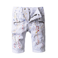 Denim şort tasarımcı kot beyaz casual sokak pantolon motosiklet kamuflaj boya kot pantolon ilham sanat Kanye west pantolon