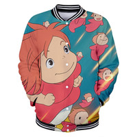 Anime movie Ponyo on the Cliff 3D stampato Giacche da baseball Donna / Uomo harajuku Cool Fashion Casual Nuovo arrivo Giacca Plus Size