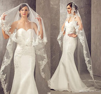 2020 BEST VERKAUFEN 3 Meter lange billigste Kapelle Länge Weiß Elfenbein Brautschleier mit Kamm Veu de Noiva Longo Hochzeitsschleier CPA859