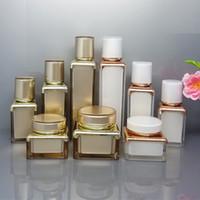 15 30 50 ml Acryl Airless-Vakuumpumpe Reisen Flaschen Set nachfüllbare Tragbare kosmetischer Behälter Lotion Creme Gläser Mit Liner Weiß und Gold