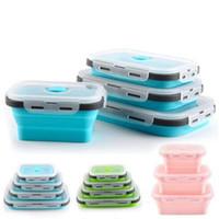 De silicona plegable caja de almuerzo de almacenamiento de alimentos de contenedores Bento libre de BPA para microondas portátil de picnic camping al aire libre Caja del rectángulo YP398