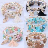 5 colori Bohemian perline braccialetti si è regolato multistrato Palm nappa braccialetto temperamento sospensione per i monili delle ragazze delle donne di modo del regalo