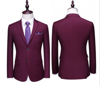 2019 Burgundy Wedding Trajes para hombre Slim Fit Bridgroom Tuxedos para hombres 3 piezas Groomsmen Suit formal Business Jackets (jacket + pants + Vest)