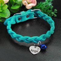 Suede Leather Dog Collar Braided Dog Puppy Cats ID Collar Wi...