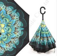 Flora stampa ombrelloni invertiti con manico C manico doppio strato interno fuori ombrelloni inverso antivento fiori parasole ombrellone ombrello A112201