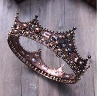 Барочный кристалл принцессы Полная круглая корона свадебные волосы ювелирные изделия круг король и королева жемчужина тиара для свадьбы конкурсная вечеринка выпускного вечера