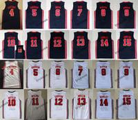 1992 Equipo One Larry # 7 Birs Basketball Jerseys # 9 Michael Bryant Ewing Pippen Mullin Robinson Drexler Laettner Stockton Malone Johnson Barkley Jersey