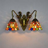 Amerikanischer Tiffany-Stil Meerjungfrau-Korridor-Doppelköpfige Wandlampen Kreative Buntglas Wandleuchten Barkorridor Gangglaslampe TF062