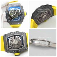 Erkek Z + F Fabrika RM035-02 Rafael Nadal Sınırlı Üretim iç Siyah Kaplama saati olan NH05A Sarı Otomatik hareketi Skeletonal Dial apanese