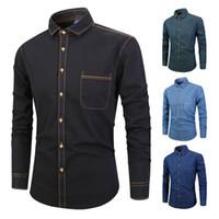 Homens Denim Camisa Cowboy Camisa Casual mangas compridas Slim Fit algodão moda masculino denims jeans camisa tops tamanho m-xxxxl vento nacional flor quente