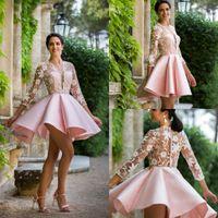 Abiti da cocktail arabi con applique scollo a V rosa di nuovo arrivo 2020 Lunghezza del ginocchio africano Prom Prom