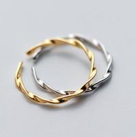 jóias anéis S925 prata esterlina torcer onda anéis abertos torção Anéis simples atacado para as mulheres
