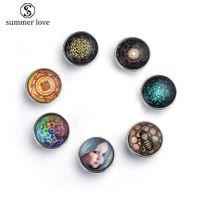 New Fashion 20mm snap button glass charm for leather bracelet unique molecule flower geometric space pattern diy charm 2019