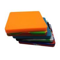 5 PCS / LOT 큰 실리콘 컨테이너 사각형 플랫 슬라브 피자 패드 Stackable Wax Dab Jar 200 ml