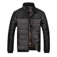 Mens heiße neue Winterjacken Mäntel Parkas PU-Leder-Patchwork Jacken Männer Oberbekleidung Winter-warme starke Parkas Tops