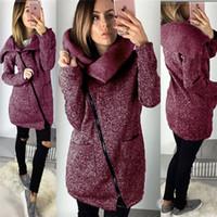 FASHION- Femmes Automne chaud Hiver chaud longues Cardigan Vestes Mode Femmes glissière latérale manteau d'extérieur Tricoté Plus Size 5XL
