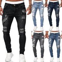 Erkekler Jeans Kıyılmış Beyaz İnce Denim Pantolon Moda Eski Ayaklar Casual Katı Sıkıntılı Jeans