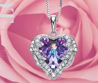 S 925 coração do oceano colar de luxo coreano cristal azul forma de coração com amantes encantos pingente colares para mulheres Titanic Jóias 558