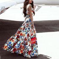 أزياء المرأة اللباس أكمام 2PCS يحدد منزعج النمط الغربي مثير شاطئ الترفيه التنورة فلورا فساتين مطبوعة