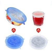 6 Pezzi calotte Stretch coperchi riutilizzabili Airtight alimentari Wrap di conservazione fresca Seal Bowl elastico copertura dell'involucro Kitchen Mestoli