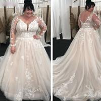 2021 빈티지 레이스 라인 웨딩 드레스 긴 소매 플러스 사이즈 신부 가운 V 목 스윕 기차 라이트 샴페인 야외 결혼식 착용