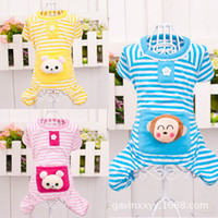 Striped four- legged clothing cotton pet pocket pajamas pet c...
