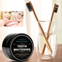 Blanchiment des dents en poudre de poudre de charbon de bois de coco de poudre de blanchiment de 1 once, kit de blanchiment des dents avec brosse à dents pour l'hygiène buccale