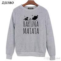 Hakuna Matata Brief Drucken Damen Hoodies Langarm O Hals Hoodie Sweatshirt Pullover Pullover Tops Herbst Winter Mantel WY54