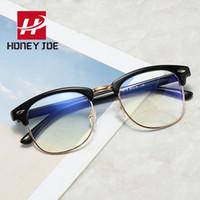 نصف أجهزة الكمبيوتر المعدنية اللعب النظارات البصرية الزجاج إطار النظارات للرجال ضد النظارات Blu-Ray Blue Lightbocking UV400