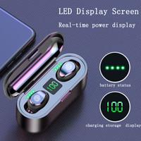 LED F9 TWS Wireless Auricolari display digitale Bluetooth V5.0 auricolari cuffie Bluetooth con nave 2000mAh Banca di potere Cuffia DHL