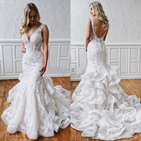 Sexy Mermaid Lace Backless Wedding Dresses 2019 Deep V Neck ...
