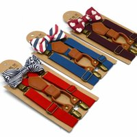 Kids Suspenders Solid Belt Printed Bowtie Set 4 Clip on Y Ba...