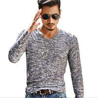 Moda Erkekler T Shirt Top Tees Erkek Giyim Uzun Kollu Casual V Yaka pamuk Spor Tişört Sportwear Koşu Yaz Spor
