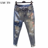 LXMSTH 3XL 4XL Woman Jeans Summer 2018 Plus Size Ripped Haren Denim Pants Women Blue Stretch Loose Embroidery jeans Flowers