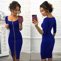 sexy Womens square neck stitching zipper solid color slim cropped sleeve dress Party Evening Sheath Fitted Vestidos Dress