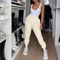 In Blogger Stil Jogginghose für Frauen Creamy Beige und Weiß Mode Walf Checks Jogger Hosen und Crop Tops Frauen 2-teiliges Set