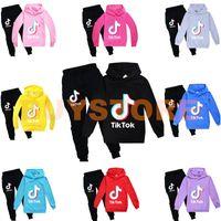 Tiktok Kids Set de manga larga Sudadera con capucha Pantalones de algodón Multicolor Opcional Niños Ropa para niños Sudadera Niño / Ropa de niña 2pcs / Set